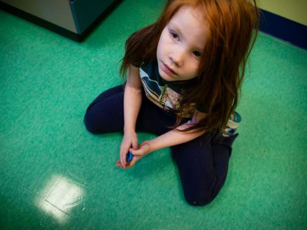 Katie at the doctor's office at theMount Washington Pediatric Hospital in Baltimore, where she is receiving chelation therapy.