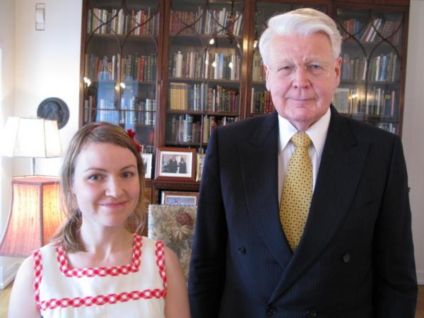 Heiða Dóra Jónsdóttir with Ólafur Ragnar Grímsson, the president of Iceland.