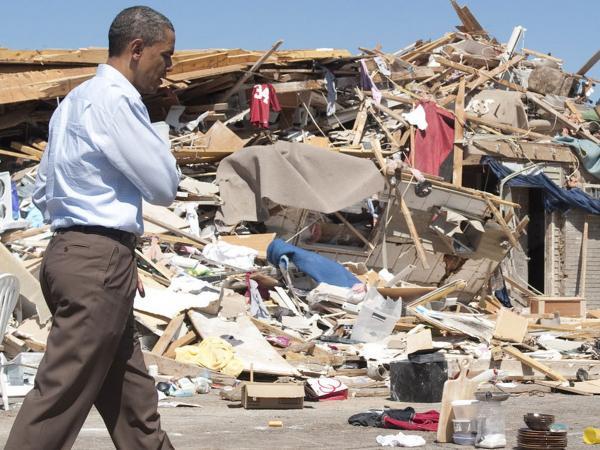 President Barack Obama tours tornado damage in Tuscaloosa, Alabama,  April 29, 2011.