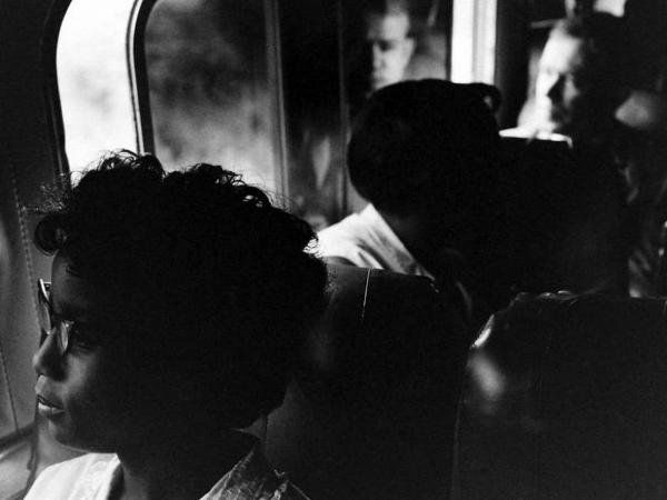 """Freedom Riders"" traveled on buses through the South to test new anti-discrimination laws."