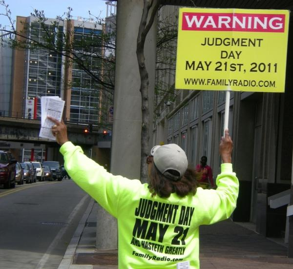 In Pittsburgh, Margaret Pease spreads the message that Judgment Day is fast approaching.