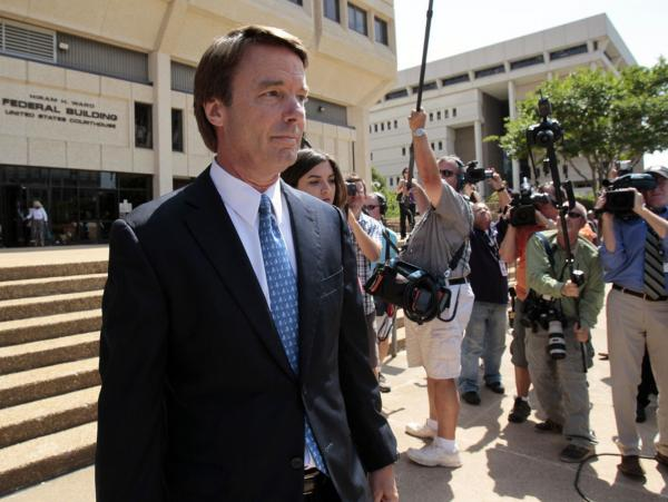 Former presidential candidate John Edwards leaves federal court in Winston-Salem, N.C., on Friday. The two-time presidential pleaded not guilty to conspiracy, taking illegal campaign contributions and making false statements.