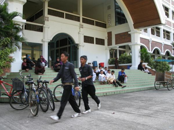 "Students and parents wait to register for a new term at Al-Zaytun, Indonesia's largest ""pesantren,"" or  Islamic boarding school."