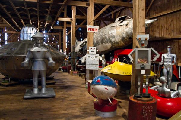 "John and Peter Kleeman collect space age kitsch in an old hay barn in Connecticut. You can explore their collection on their <a href=""http://www.spaceagemuseum.com/"">website</a>."