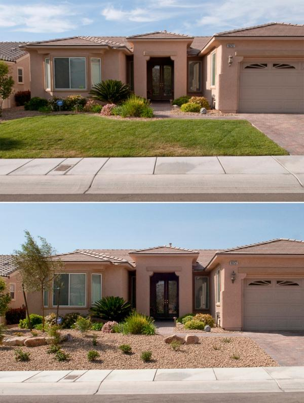 """Xeriscaping,"" a term trademarked in Denver for creating lawns of native plants that require little water, is encouraged in Las Vegas."