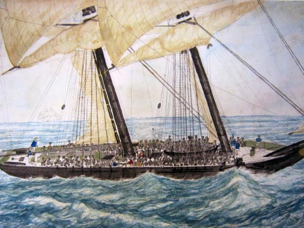 Watercolor, Portuguese Slaver Diligenté, 1838.
