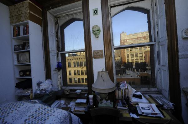 "A view from the room of 16-year resident and writer Ed Hamilton, who moved to the Chelsea in his mid-30s. ""It seemed like the place to go,"" he says."