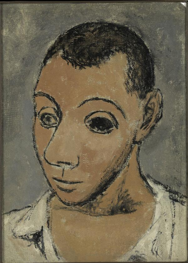 At the Steins' apartment, Picasso saw the portrait in which Cezanne had painted his wife's eye black. Picasso tried the technique for himself in this 1906 self-portrait.