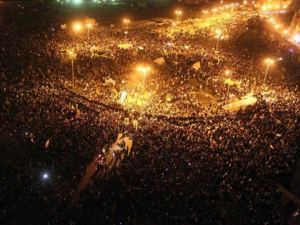 Egyptian protesters gather in Cairo's Tahrir Square on Monday.