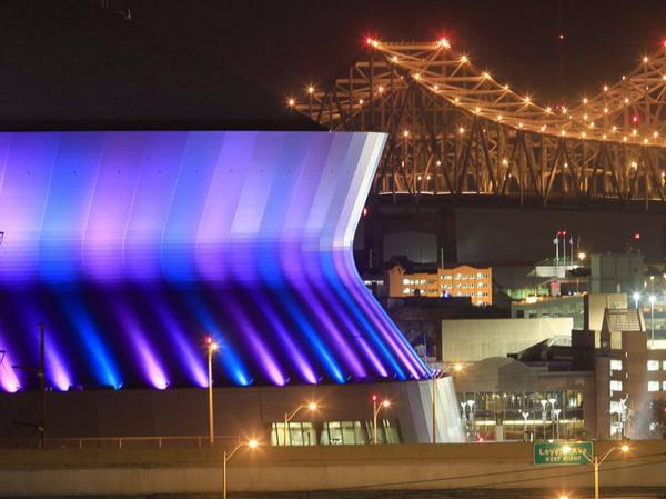 The Mercedes-Benz Superdome lit up at night in New Orleans on Oct. 20.