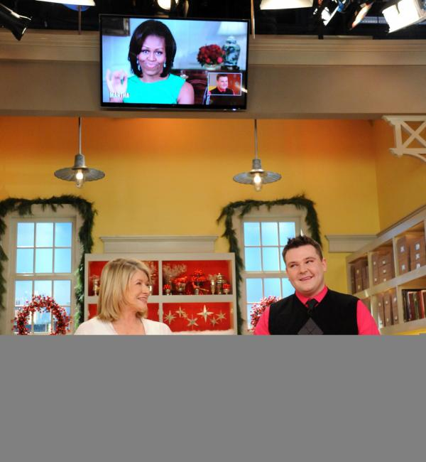 Martha Stewart and David Bondarchuck during Wednesday's broadcast of <em>The Martha Stewart Show </em>-- and as a videotape message from first lady Michelle Obama was played.