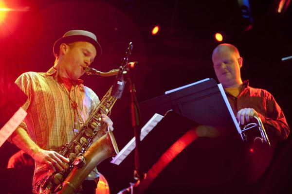 Curtis Hasselbring (right) leads the New Mellow Edwards at Winter Jazzfest 2012, including saxophonist Chris Speed.