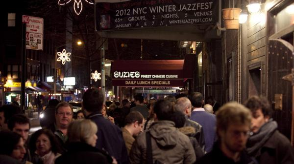 The crowd outside the Winter Jazzfest 2012 check-in area.