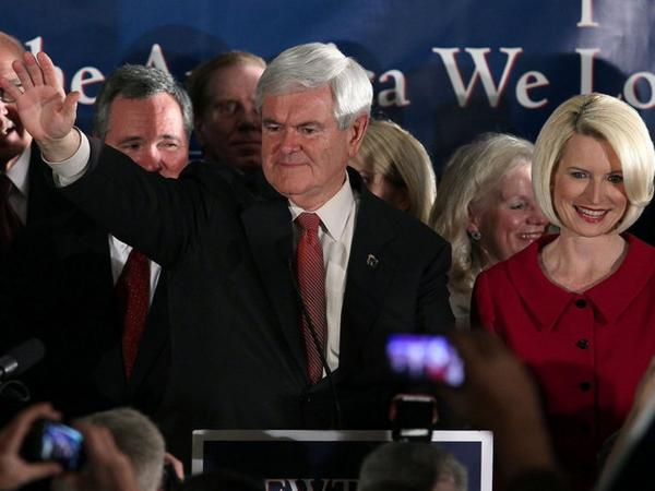Republican presidential candidate Newt Gingrich and his wife, Callista, celebrate after Gingrich was declared the winner of South Carolina's primary Saturday.