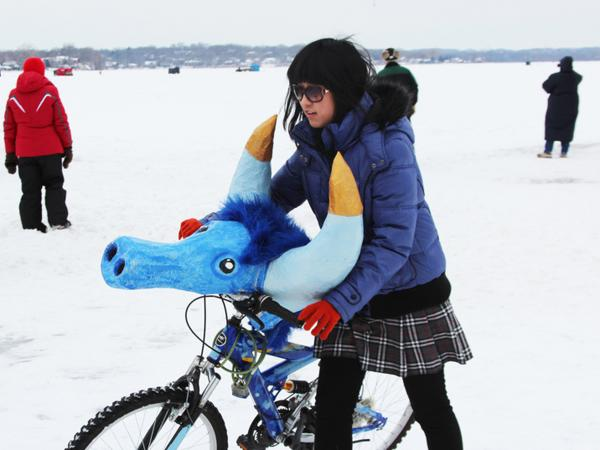 At the Art Shanty festival on Medicine Lake in Plymouth, Minn., the ICE-Cycles Shanty uses a bit of fun (and weather-appropriate tires) to try to encourage wintertime bike riding.