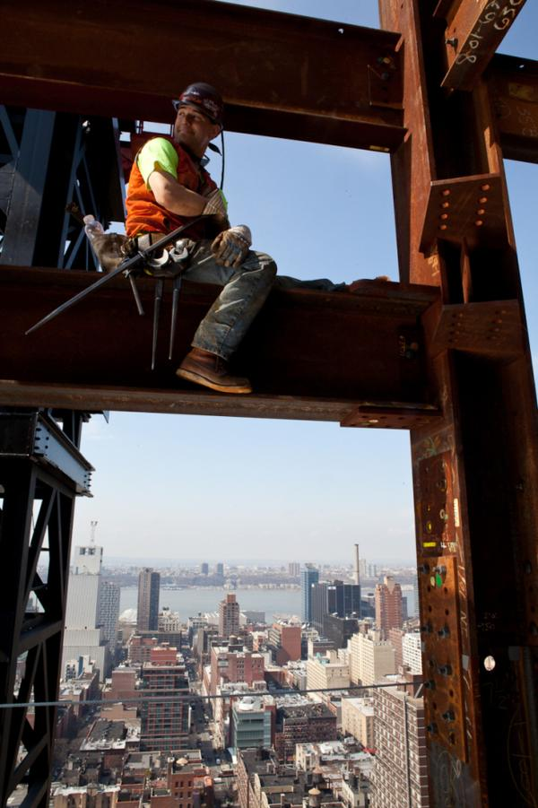 Kaniehtakeron Martin takes a break from working on what will be the 27th floor of an office building in New York City.