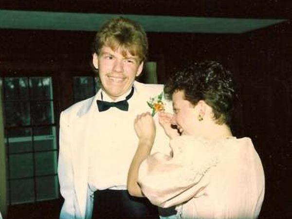 A user-submitted photo of getting ready for prom, circa 1980s.