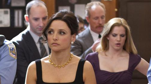 Julia Louis-Dreyfus and her staff, including Tony Hale and Anna Chlumsky, in <em>Veep</em>.