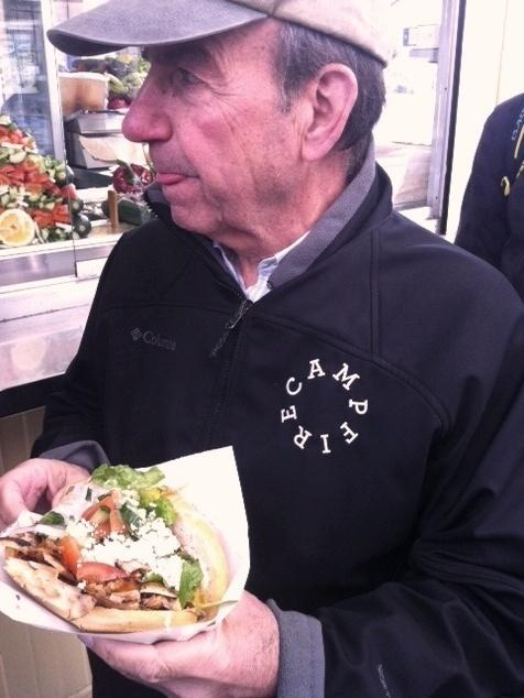 Food writer, Calvin Trillin, eats doener at Mustafa's Gemuesekebab on Mehringdamm.