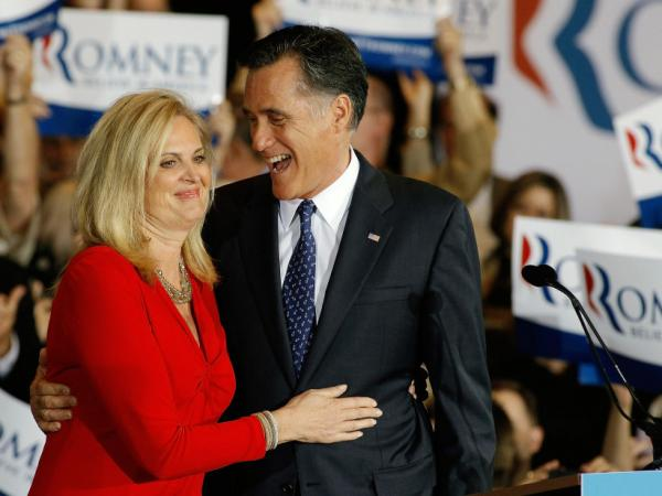 Ann and Mitt Romney, on March 20, celebrating his win in the Illinois primary.