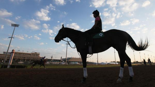 Horses train on the track in preparation for the 138th Kentucky Derby at Churchill Downs.