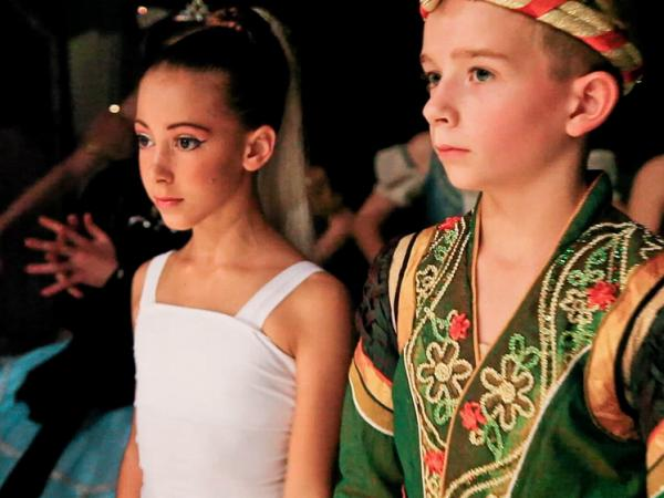 Gaya Bommer and Aran Bell in <em>First Position</em>. Aran, who is 11 in the film, began dance training at age 4.