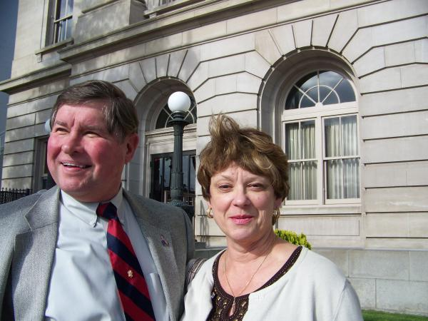 Walt Tamosaitis and his wife outside the federal courthouse in Yakima, Wash. Thursday. By Anna King.