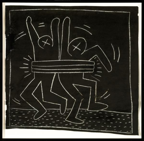 <em>Untitled</em>, circa 1980-1985, chalk on black paper. These subway drawings were visible only until the Transit Authority covered them with new advertisements — but many enterprising collectors managed to pry them free and save them.