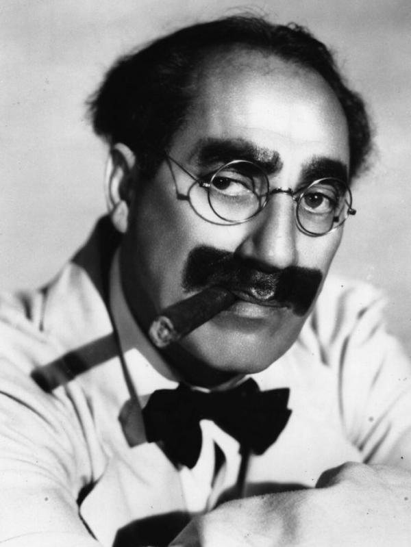 Julius 'Groucho' Marx (1895 - 1977), one of the Marx brothers, an American comic group.
