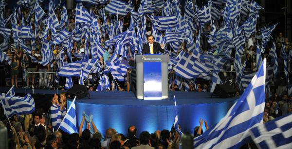 Antonis Samaras, leader of the conservative New Democracy Party, addresses an election rally in Thessaloniki Wednesday. One of two dominant parties in Greek politics, New Democracy has lost support to a new nationalist party.