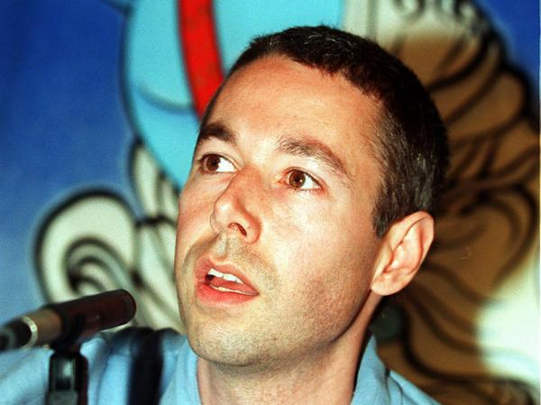 Adam Yauch speaks at a press conference before the 1998 edition of the Tibetan Freedom Concert in Washington, D.C.