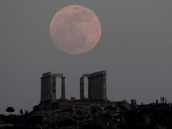 "The ""supermoon"" over Athens Saturday night."