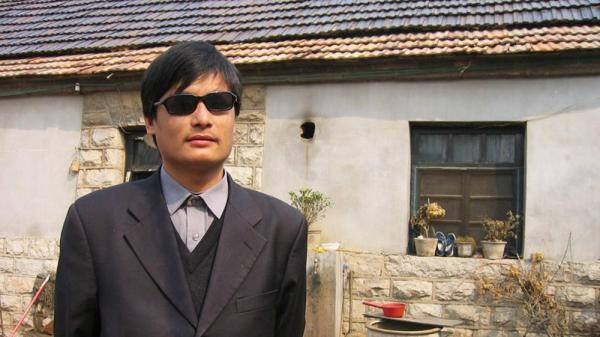 This undated handout image provided by ChinaAid shows Chinese legal activist Chen Guangcheng, whose escape from house arrest spurred a delicate dance of U.S.-China relations.