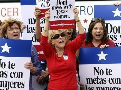 Protesters in San Antonio argue against efforts to cut Planned Parenthood from Texas' Women's Health Program in March.