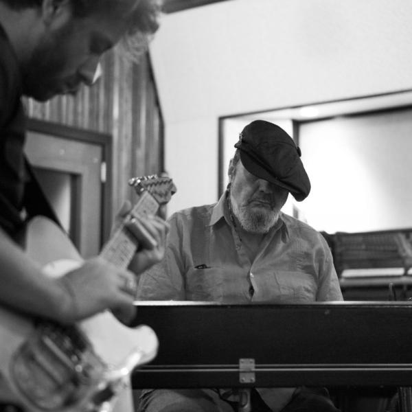 Dr. John (right) with Black Keys singer-guitarist Dan Auerbach, who produced <em>Locked Down</em>. In April, the pair played songs from the album at the Brooklyn Academy of Music.