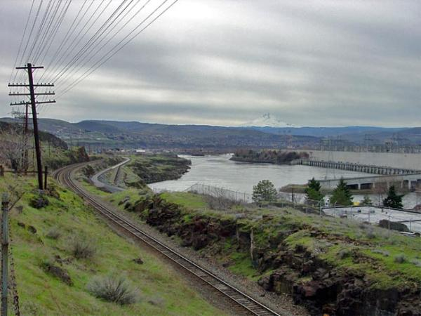 The Dalles Dam on the Columbia River near the west end of the Columbia River Gorge. Photo courtesy of USGS