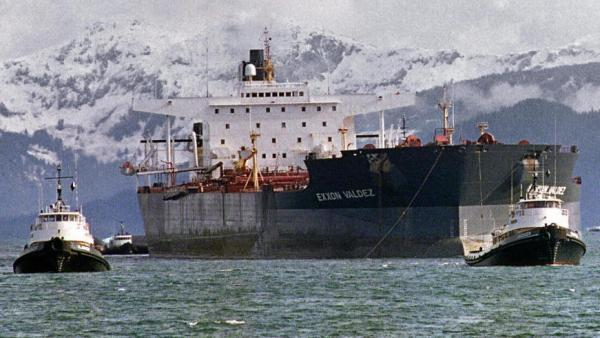 April 5, 1989: Tugboats tow the Exxon Valdez off Bligh Reef in Alaska's Prince William Sound.