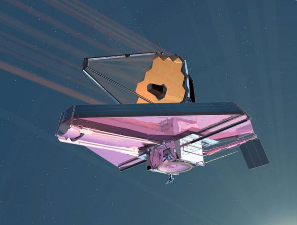 A 2007 artist's conception of the James Webb Space Telescope in operation.