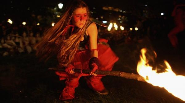 A member of the Beltane Fire Society is seen celebrating the coming of summer on April 30, 2006, in Edinburgh, Scotland. The procession is a revival of the ancient Celtic festival of Beltane.