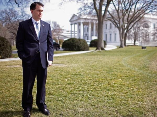 Wisconsin Gov. Scott Walker stands on the North Lawn of the White House before making remarks after a meeting of the National Governors Association with President Barack Obama February 27, 2012 in Washington, DC. Walker is facing a recall election in his home state.