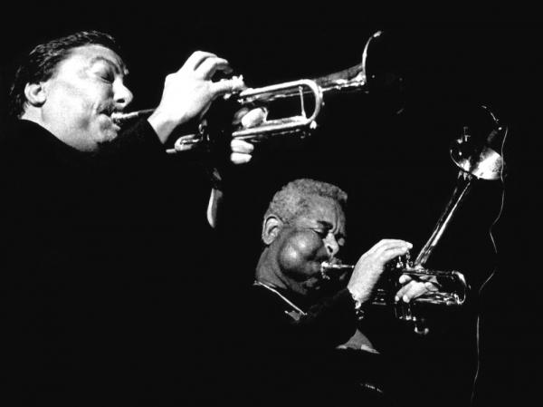 Arturo Sandoval and Dizzy Gillespie on tour in Europe in 1991. Sandoval's new album, <em>Dear Diz (Every Day I Think of You)</em>, is a tribute to his friend and mentor.