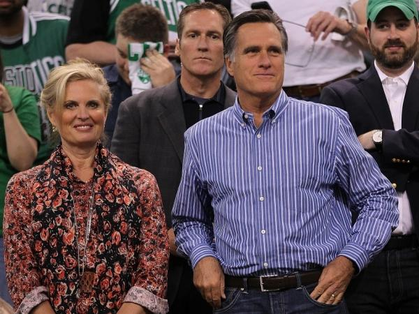 Republican presidential candidate Mitt Romney, sits in the stands with his wife Ann Romney before start of a game between Boston Celtics and the Atlanta Hawks at TD Garden in Boston, Massachusetts. Romney has said that he does not believe gay couples should marry.