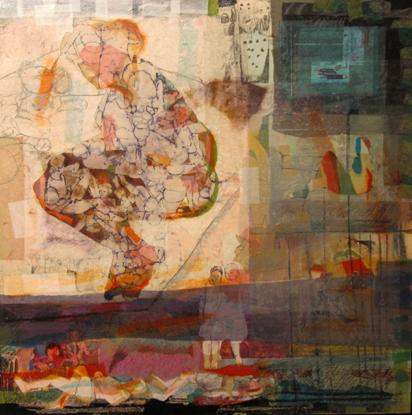 """I cared about what was happening around me, so I went to be with the people,"" says Syrian artist Hiba Akkad. ""Whatever the people were doing, I wanted to be with them."" Above, Akkad's 2012 mixed media on canvas work, <em>Untitled</em>."
