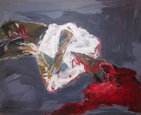 "Tarek Butayhi's 2011 mixed media on canvas work, <em>Untitled</em>. Butayhi's work was displayed in the <a href=""http://www.galerietanit.com/bios/syrian/syrian.htm"">Artists From Syria Today</a> exhibition at the Espace Kettaneh Kunigk gallery in Beirut."
