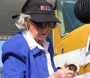 Evelyn Johnson, who holds a world record as the most experienced female pilot, appeared on NPR in 2003. Johnson died Thursday at the age of 102.