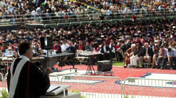 "Mitt Romney delivers the keynote address at Liberty University's commencement ceremony in Lynchburg, Va., on Saturday. In his speech, Romney told students that ""marriage is a relationship between one man and one woman."""