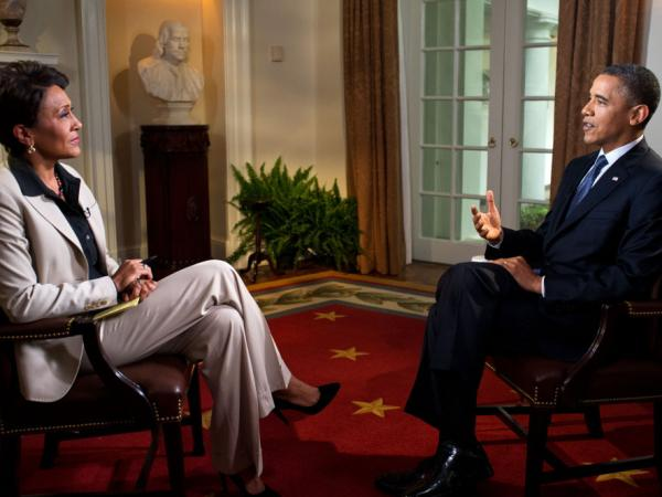 President Obama participates in an interview with Robin Roberts of ABC's <em>Good Morning America</em> in the White House on May 9. During the interview, Obama expressed his support for gay marriage, a first for a U.S. president.