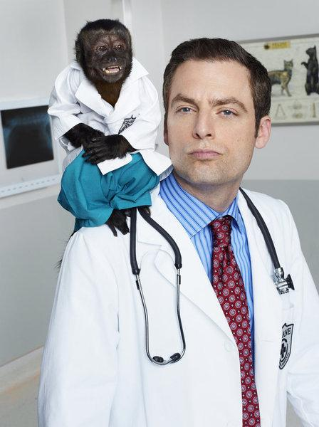 Crystal as Dr. Zaius and Justin Kirk as Dr. George Coleman on NBC's new fall comedy, <em>Animal Practice</em>.