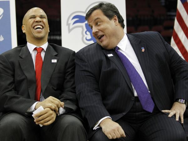 The new political comedy team of Newark Mayor Cory Booker and New Jersey Gov. Chris Christie yuck it up in January 2011.