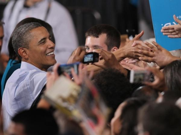 President Barack Obama greets supporters at a campaign rally at Ohio State University on May 5, 2012 in Columbus, Ohio. The rally officially kicked off the president's 2012 campaign for reelection.